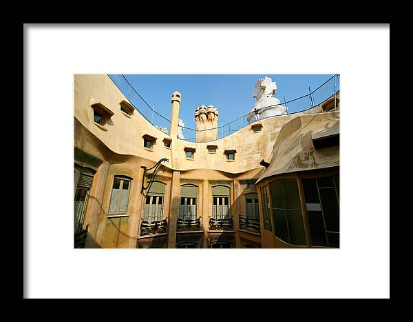 Pedrera Framed Print featuring the photograph Gaudi La Pedrera Barcelona Spain by Mathew Lodge