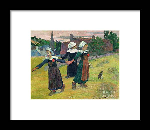 1888 Framed Print featuring the painting Gauguin, Breton Girls, 1888 by Granger