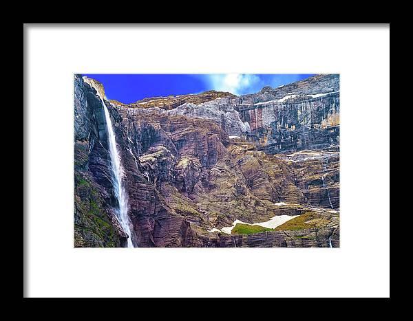 France Framed Print featuring the photograph Gavarnie Circus Waterfall by Jean-luc Bohin