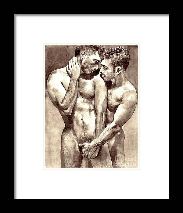 Love Framed Print featuring the painting Gay Love Watercolor by Suzann Sines