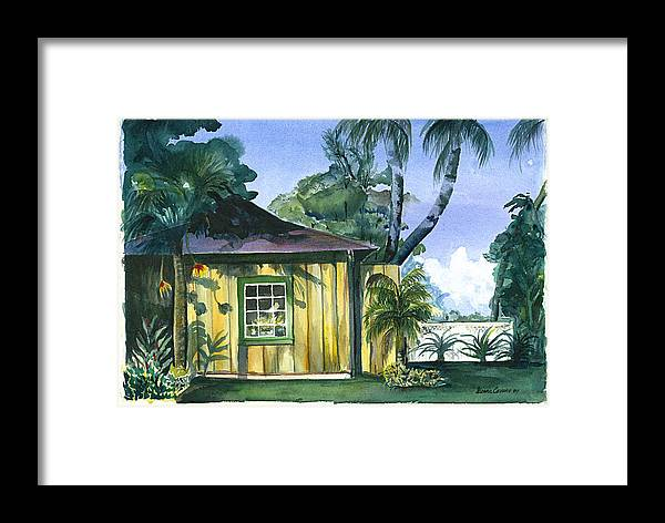 Evening Sunset On Rustic Building Framed Print featuring the painting Gaylords Carriage House by Ileana Carreno