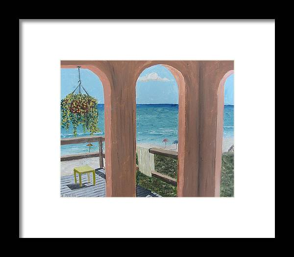Seascape Framed Print featuring the painting Gazebo At Blue Mountain Beach by John Terry