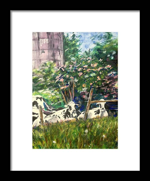 Cows Framed Print featuring the painting Gazing Through Summer Haze by Jami Burns