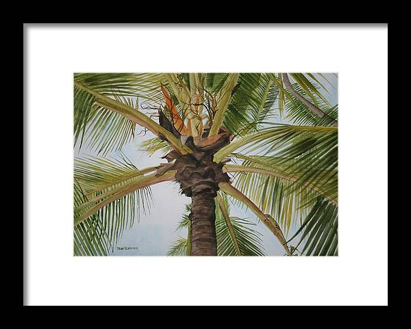 Palm Tree Framed Print featuring the painting Gecko Heaven by Jean Blackmer