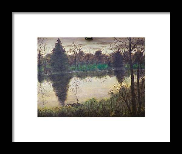 Landscape Framed Print featuring the painting Geese At Sunrise by Charles Vaughn
