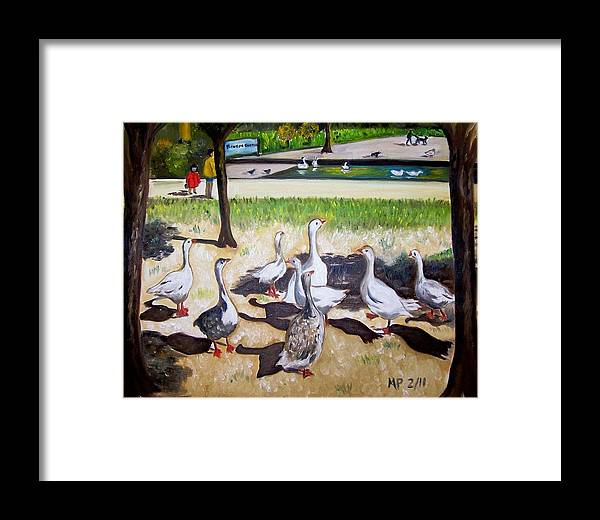 Landscape Framed Print featuring the painting Geese In The Park by Madeleine Prochazka