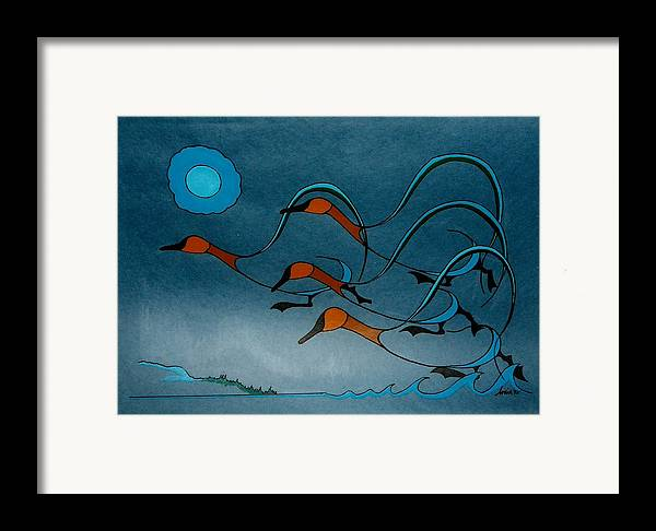 Geese Framed Print featuring the painting Geese Soutbound by Arnold Isbister