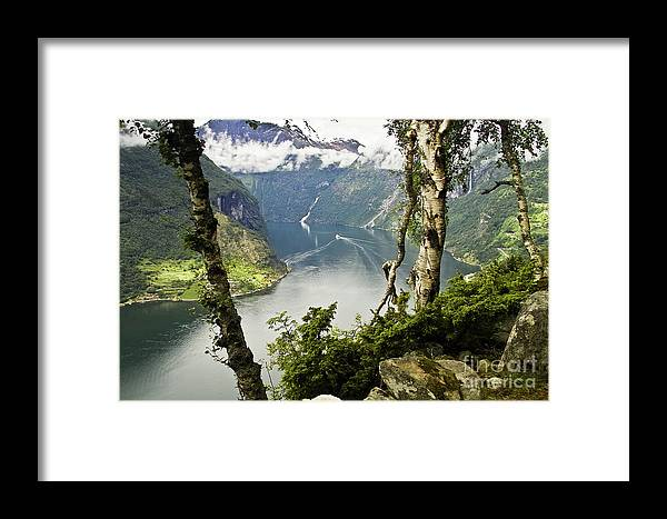 Europe Framed Print featuring the photograph Geiranger Fjord by Heiko Koehrer-Wagner