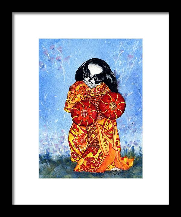 Japanese Chin Framed Print featuring the painting Geisha Chin by Kathleen Sepulveda