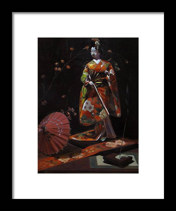 Geisha Framed Print featuring the painting Geisha Doll In Red by Takayuki Harada