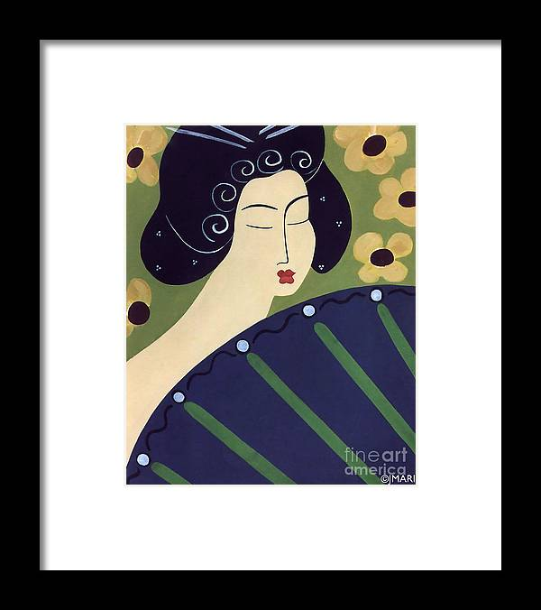 #japanese Framed Print featuring the painting Geisha Doll by Jacquelinemari