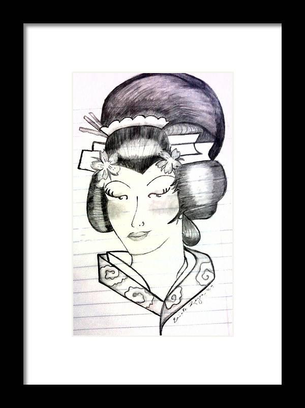 Geisha Framed Print featuring the drawing Geisha by Ericka Ramos