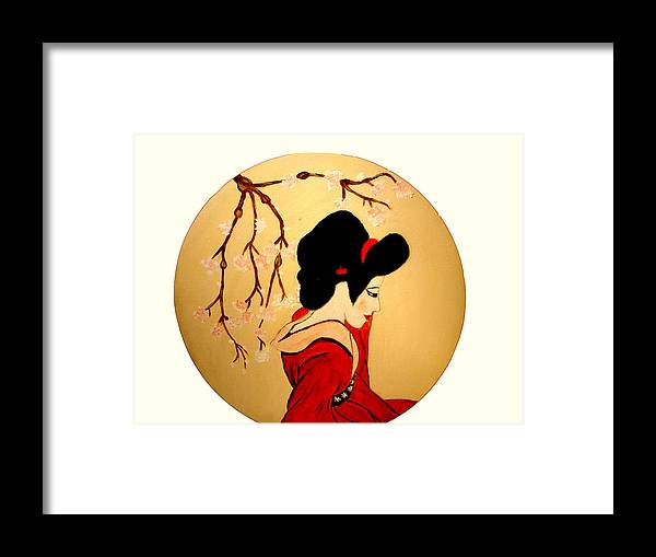 Geisha Girls Framed Print featuring the painting Geisha Girl by Rusty Gladdish