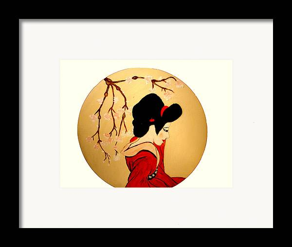 Geisha Girls Framed Print featuring the painting Geisha Girl by Rusty Gladdish