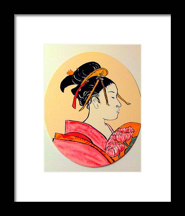 Geisha Girls Framed Print featuring the painting Geisha In The House Of Pleasure by Rusty Gladdish