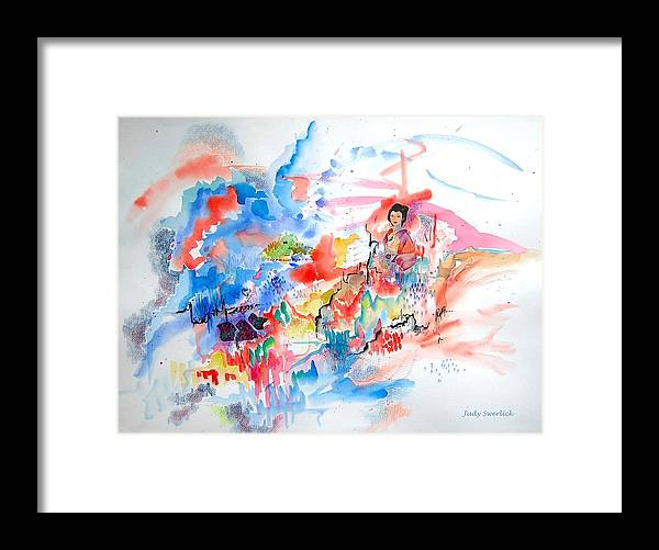 Geisha Framed Print featuring the mixed media Geisha On Mountain Top by Judy Swerlick