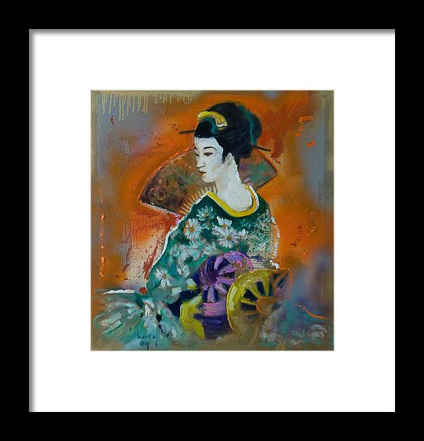Oriental Framed Print featuring the painting Geisha by Rick Nederlof