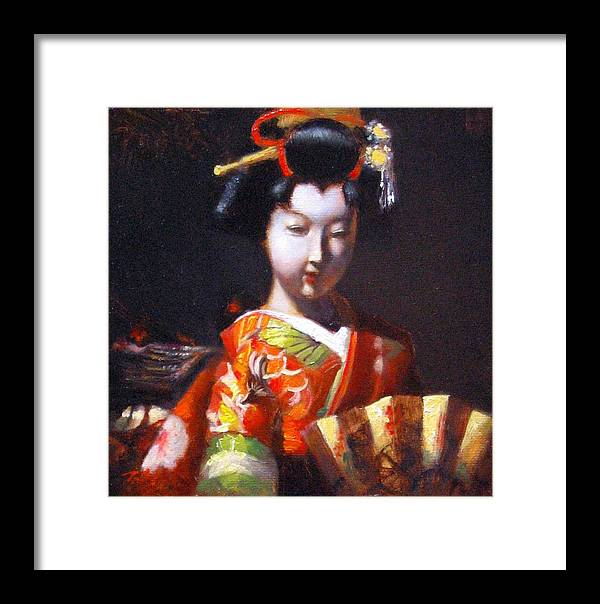 Geisha Framed Print featuring the painting Geisha With Golden Fan by Takayuki Harada