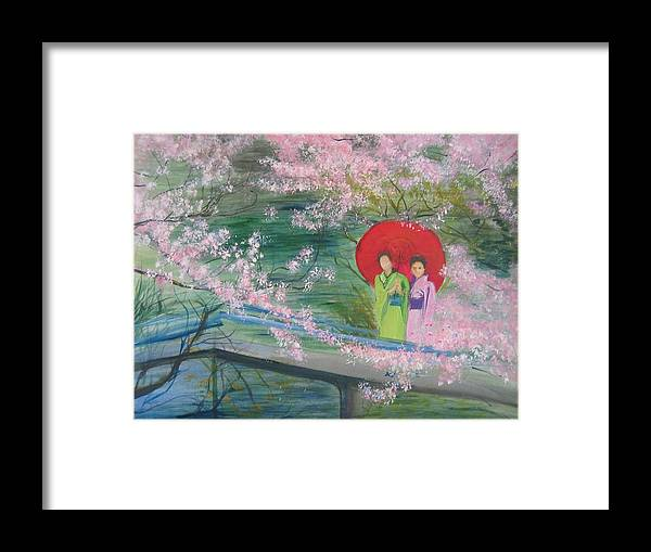 Landscape Framed Print featuring the painting Geishas And Cherry Blossom by Lizzy Forrester