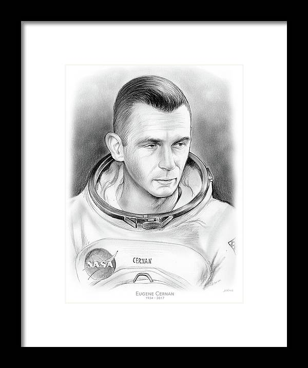 Gene Cernan Framed Print featuring the drawing Astronaut Gene Cernan by Greg Joens