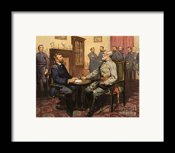 General Grant Meets Robert E. Lee By English School (20th Century) Great Commanders: Hero Of The Southland. General Grant Meets Robert E. Lee. America; Army; Soldiers; American; Flag; American Civil War; Robert E Lee; General Grant; Surrender; Confederate; Union; Us Framed Print featuring the painting General Grant Meets Robert E Lee by English School