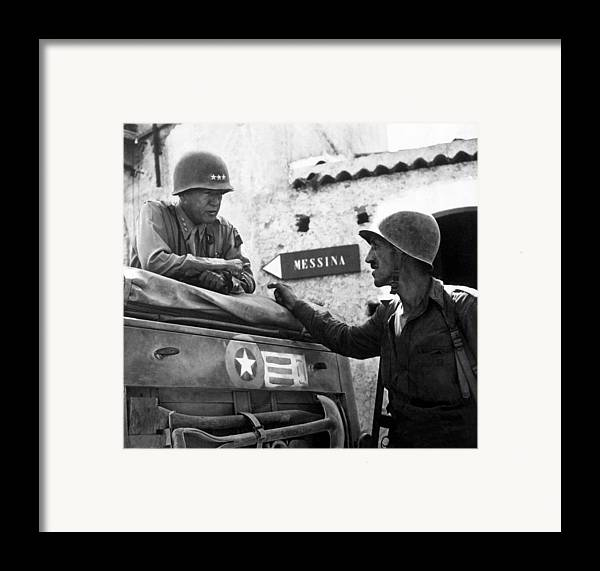 General Patton Framed Print featuring the painting General Patton In Sicily by War Is Hell Store