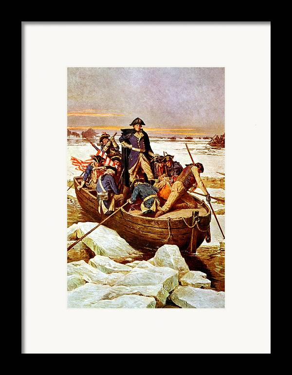 George Washington Framed Print featuring the painting General Washington Crossing The Delaware River by War Is Hell Store