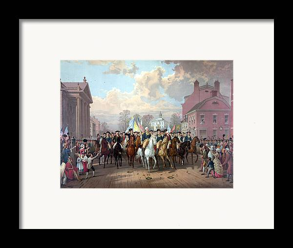 George Washington Framed Print featuring the painting General Washington Enters New York by War Is Hell Store