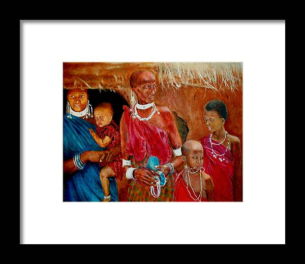 Maasai Framed Print featuring the painting Generations3 by G Cuffia