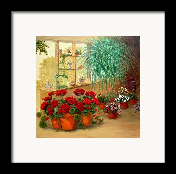 Greenroom Framed Print featuring the painting Gen's Green Room by Jeanene Stein