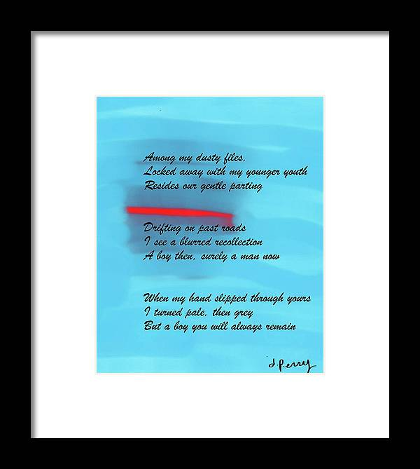 Blue Art Print Framed Print featuring the painting Gentle Parting by D Perry