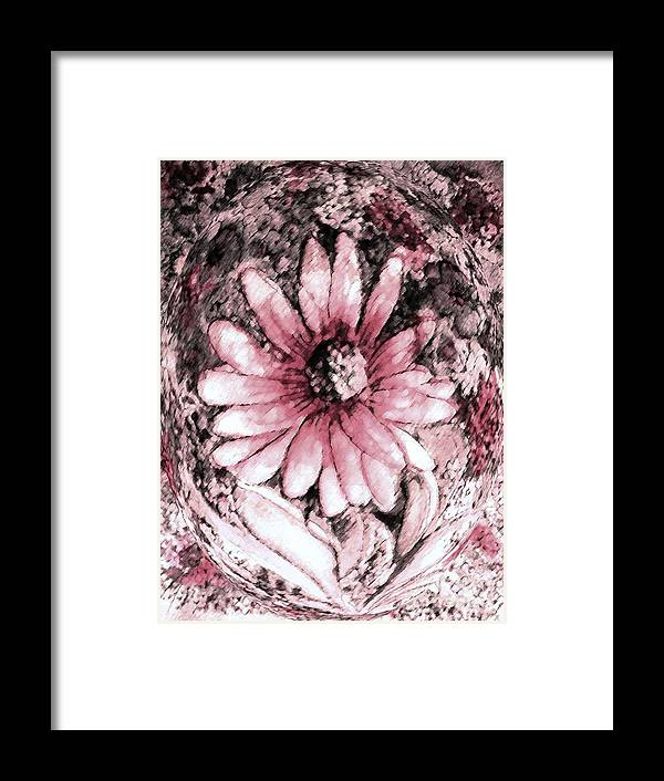 Soft Pink And White Daisy Framed Print featuring the painting Gentle Thoughts by Hazel Holland