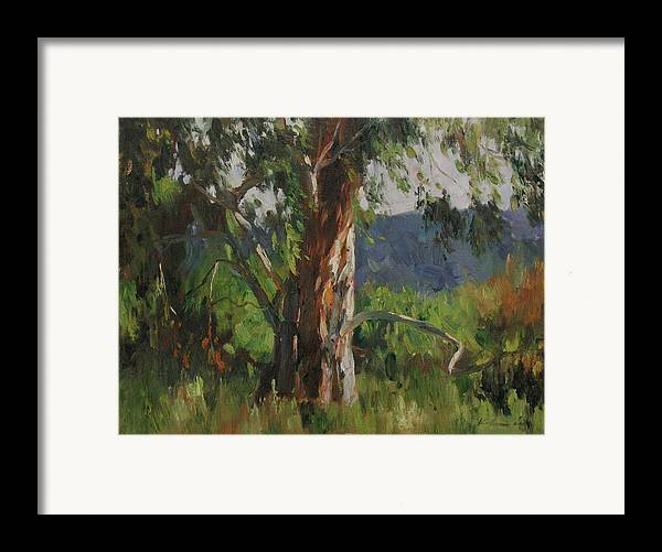Landscape Framed Print featuring the painting Gentle Wind by Kelvin Lei