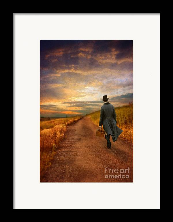 Young Framed Print featuring the photograph Gentleman Walking On Rural Road by Jill Battaglia
