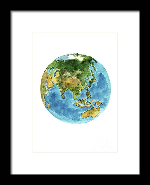 Planet earth colors geography world map australia new zealand painting framed print featuring the painting planet earth colors geography world map australia new gumiabroncs Choice Image