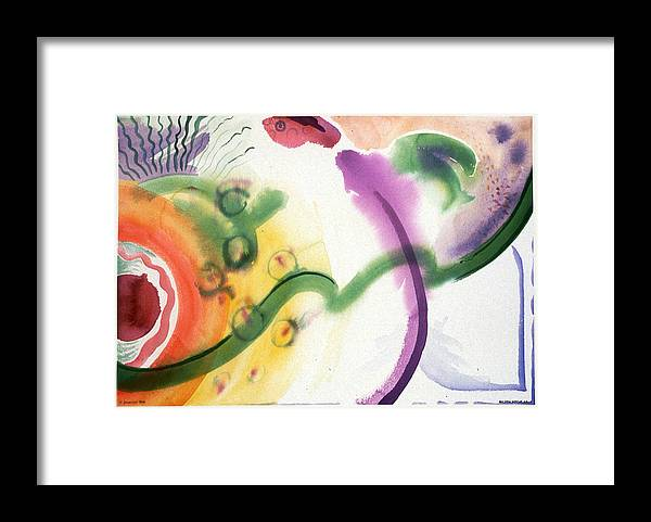 Abstract Framed Print featuring the painting Geomantic Blossom Ripening by Eileen Hale
