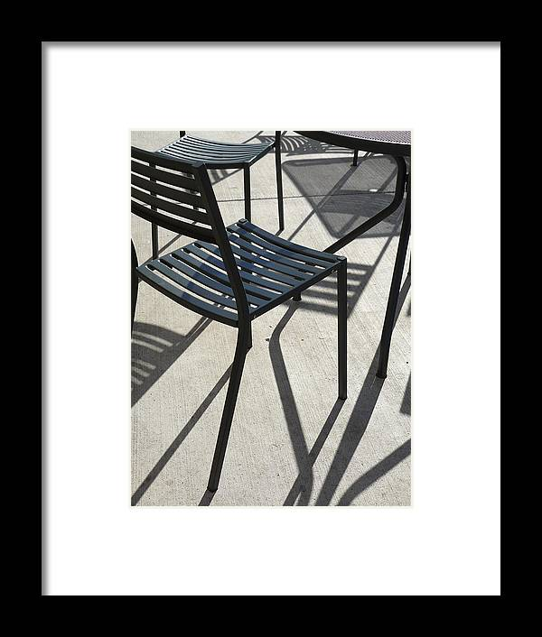 Photography Shadows Design Abstract Chairs Framed Print featuring the photograph Geometric I by Loretta Orr