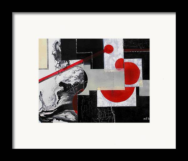 Framed Print featuring the painting Geometry In Space by Evguenia Men