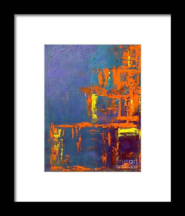 Abstract Framed Print featuring the painting Geometry by Inna Montano