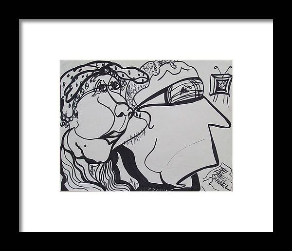 Family Framed Print featuring the drawing George And Gracie by Jennifer K Machado