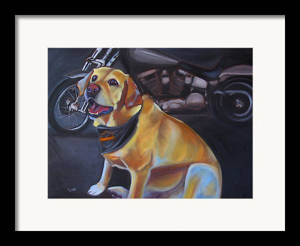 Yellow Labrador Retreiver Painting Framed Print featuring the painting George And The Harley by Kaytee Esser