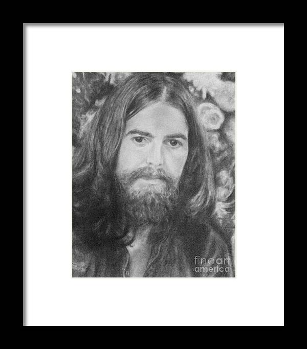 Framed Print featuring the drawing George Harrison by Holly Bohannon