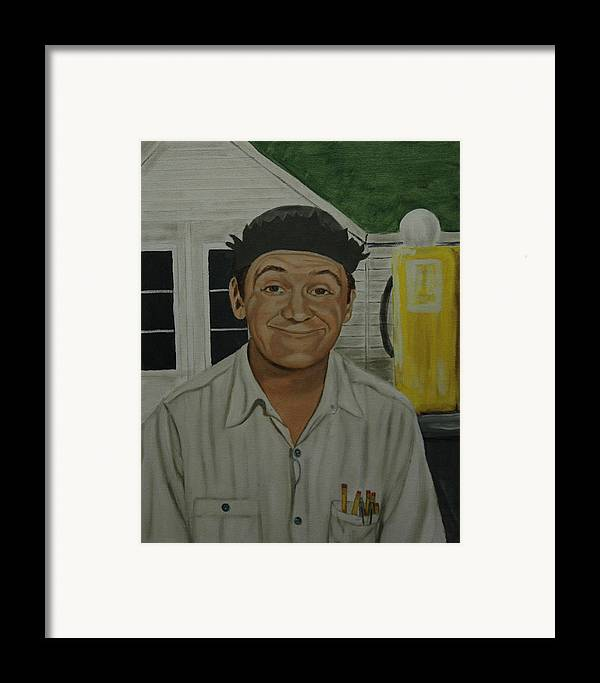 Goober Framed Print featuring the painting George Lindsey As Goober by Tresa Crain