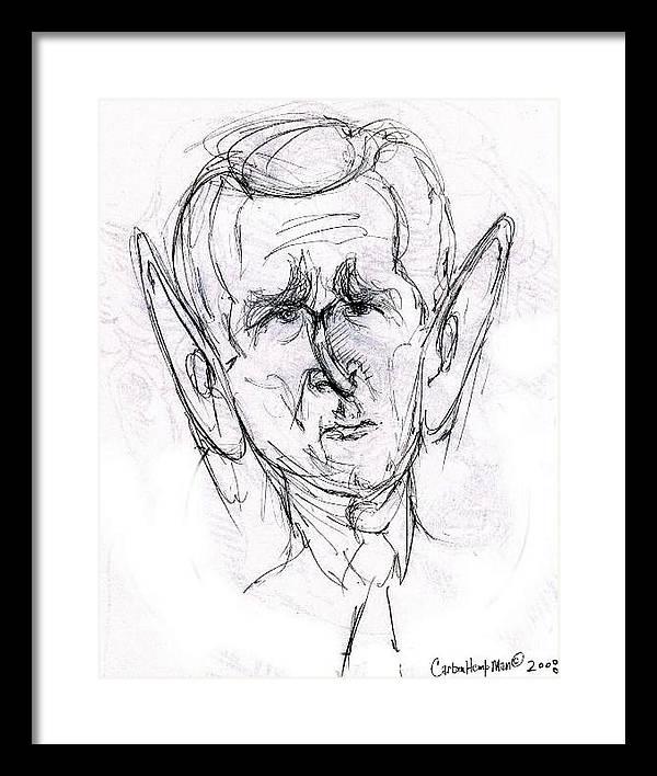 Political Cartoon President Bush Graphite Paper Framed Print featuring the drawing George W. Bush by Cartoon Hempman