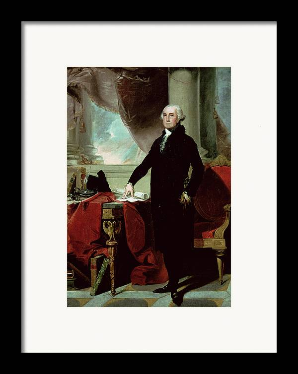 George Washington (1732-99) (colour Litho) By Gilbert Stuart (1755-1828) Framed Print featuring the painting George Washington by Gilbert Stuart