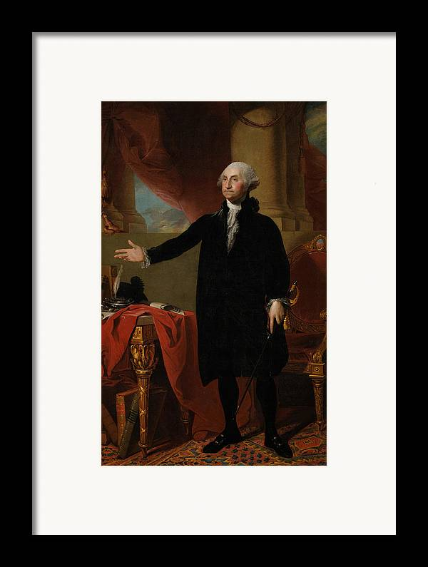 George Washington Framed Print featuring the painting George Washington Lansdowne Portrait by War Is Hell Store