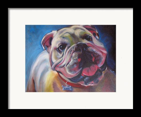 Bulldog Framed Print featuring the painting Georgia Bulldog by Kaytee Esser