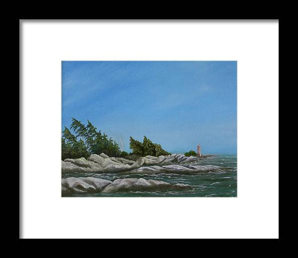 Landscape Framed Print featuring the painting Georgian Bay by Rebecca Fitchett
