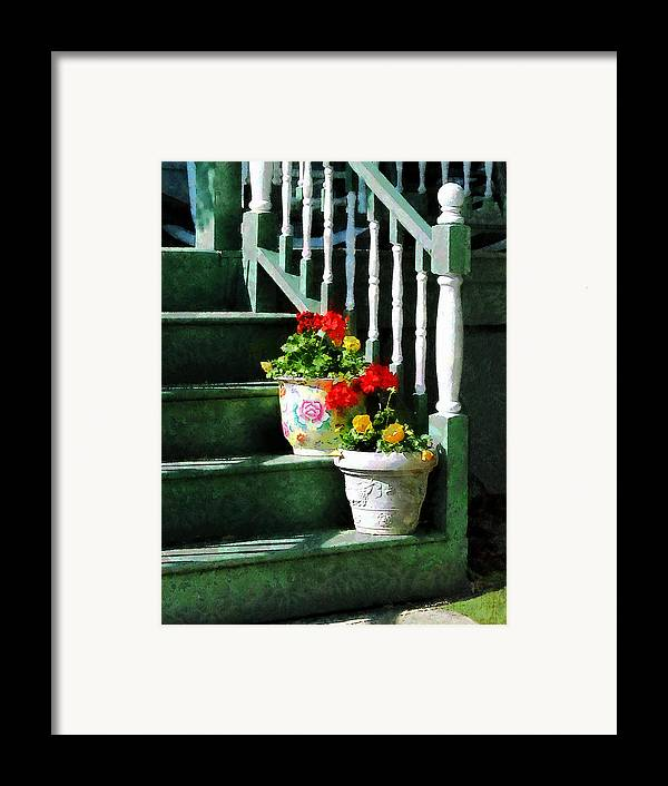 Front Steps Framed Print featuring the photograph Geraniums And Pansies On Steps by Susan Savad