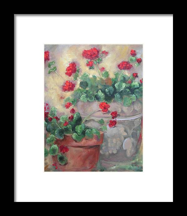 Geraniums Framed Print featuring the painting Geraniums by Ginger Concepcion